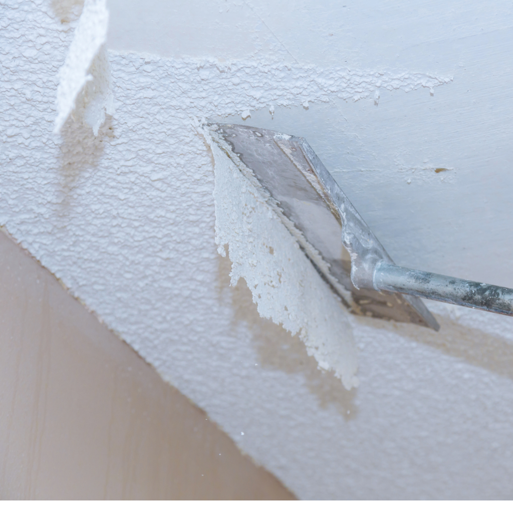 popcorn ceiling removal with a scraper