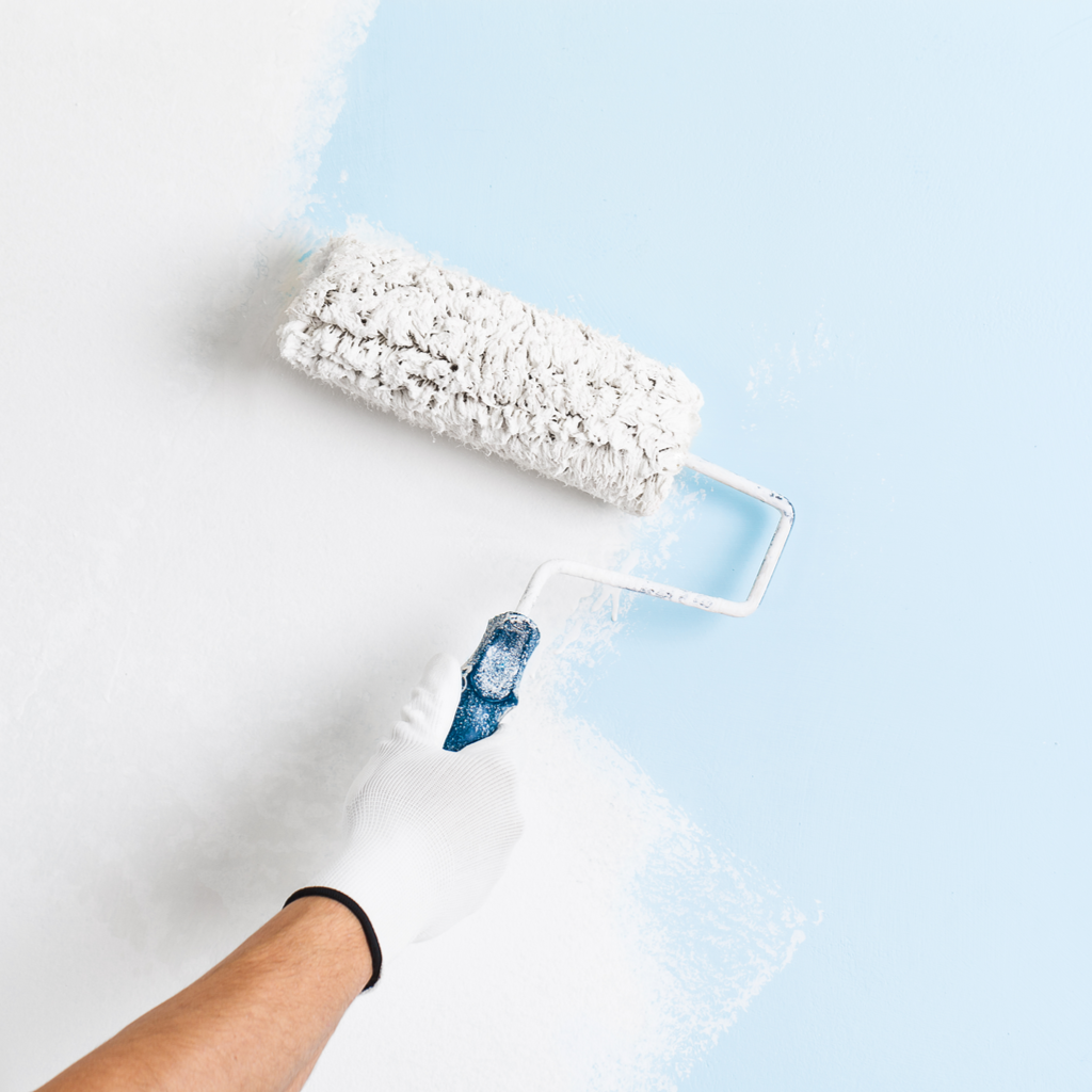 Painting a blue wall white