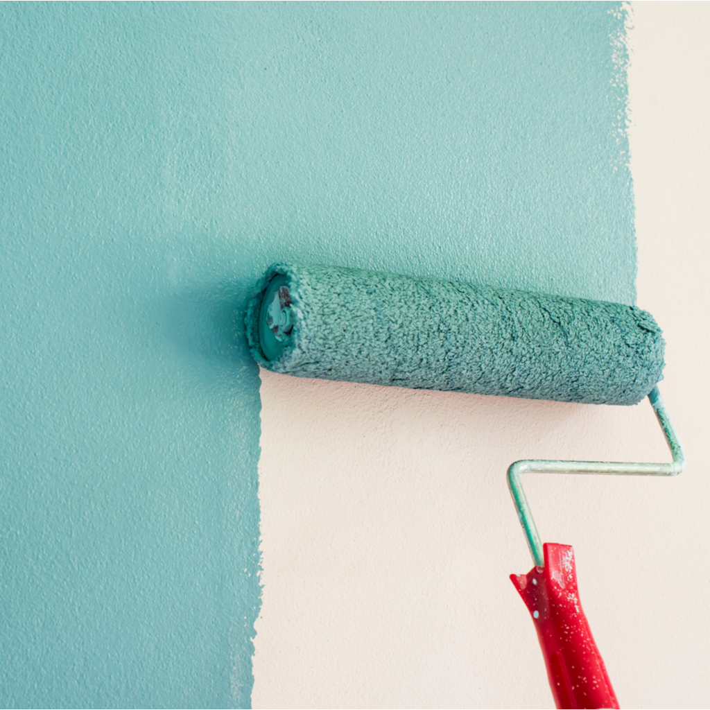 Painting a white wall blue