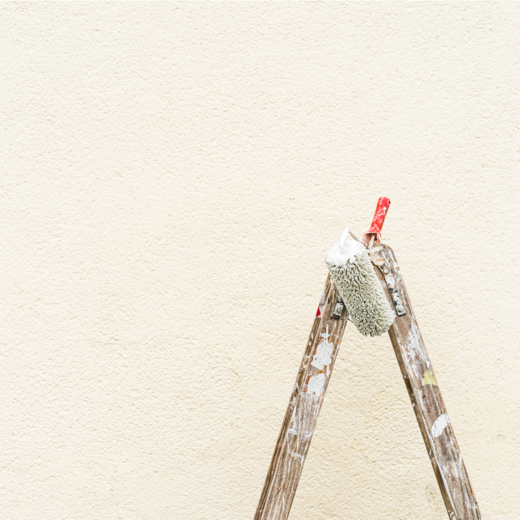 Ladder and paint roller in front of freshly painted wall