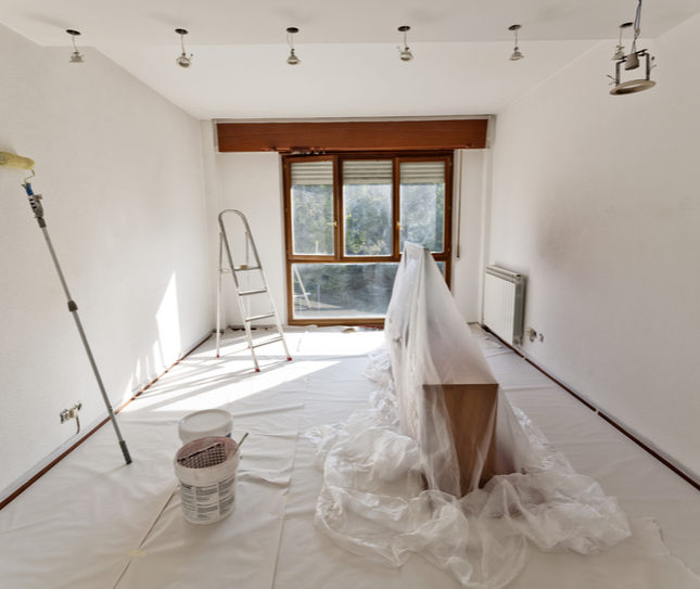 Room prepared to be painted