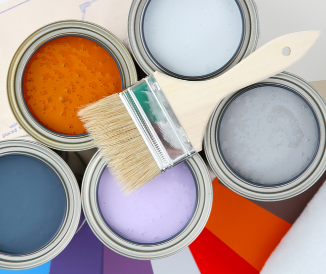 different colours and types of paint showing a paint selection process