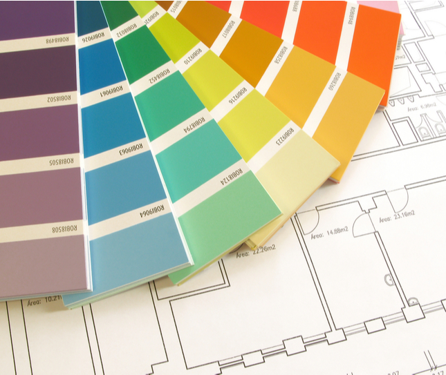 a paint selection showing the different types of paint colours